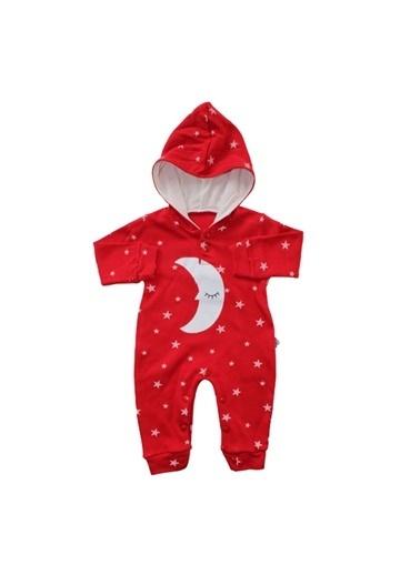 By Bebek Odam By Bebek Odam Kapüşonlu Uzun Kol Ay Yıldız Baskılı  Bebek Tulum Kırmızı